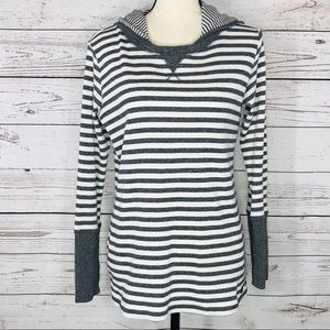 Marc New York Hooded Thermal Pullover Top Striped